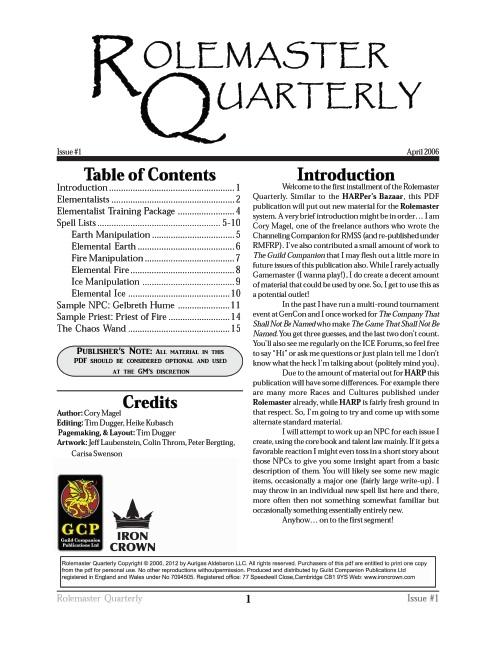 Rolemaster Quarterly 1