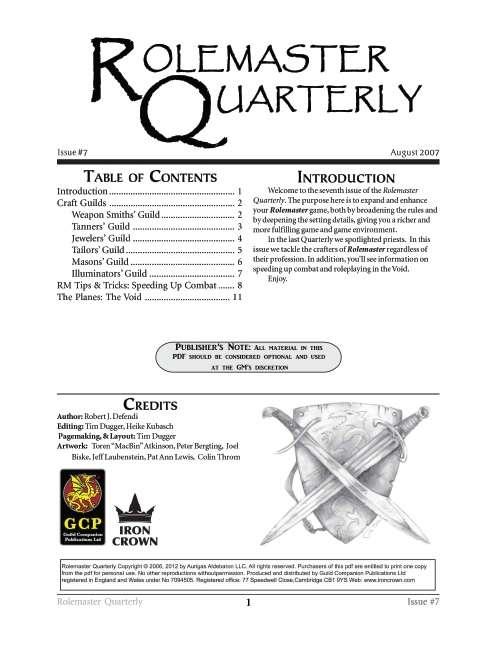 Rolemaster Quarterly 7