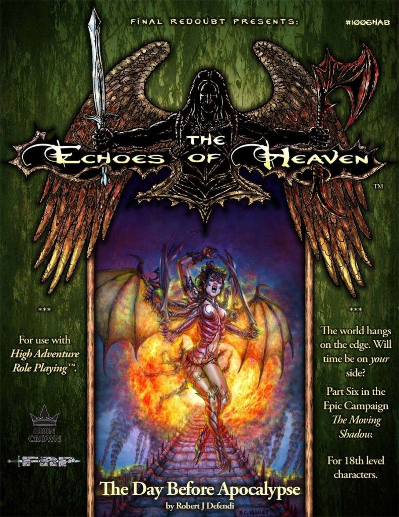 The day before apocalypse - Echoes of heaven campaign setting cover