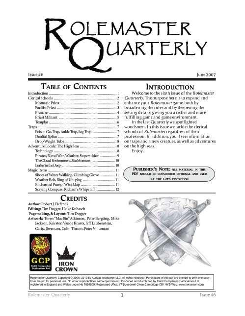 Rolemaster Quarterly 6